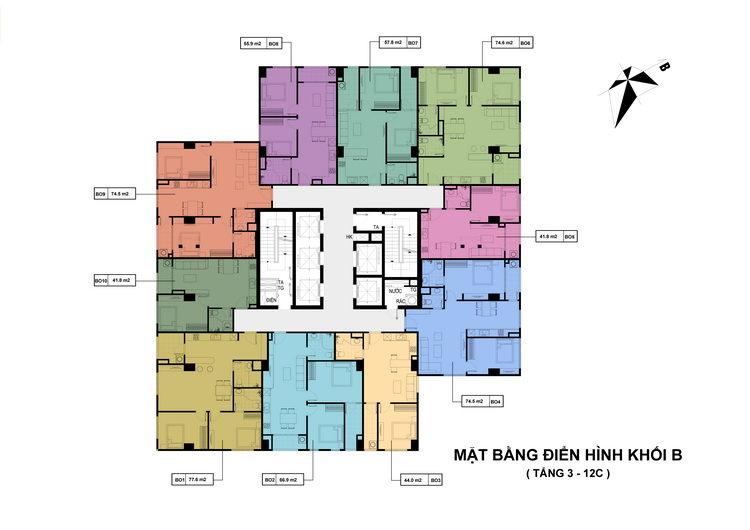 Tháp B - Căn hộ Officetel từ tầng 3 - 12C